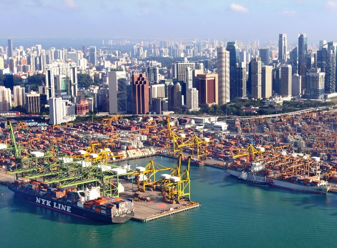 An aerial view of a Singapore shipping yard.
