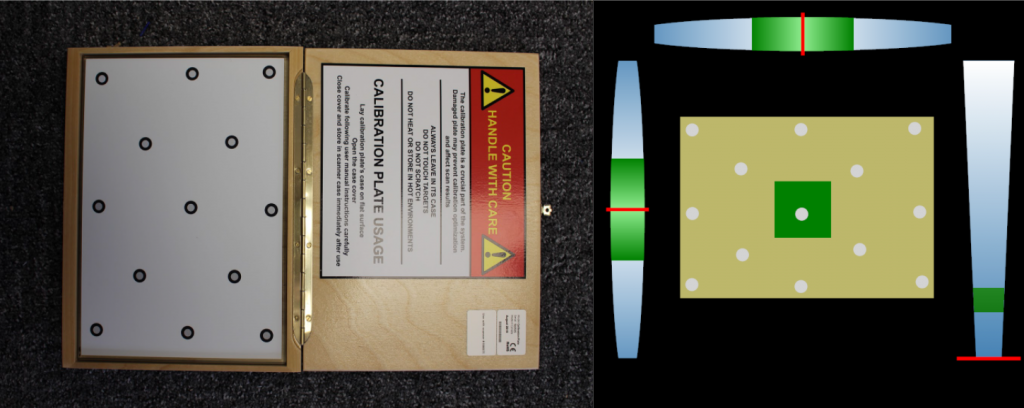 The calibration plate and corresponding peel 3D software UI. Image by 3D Printing Industry.