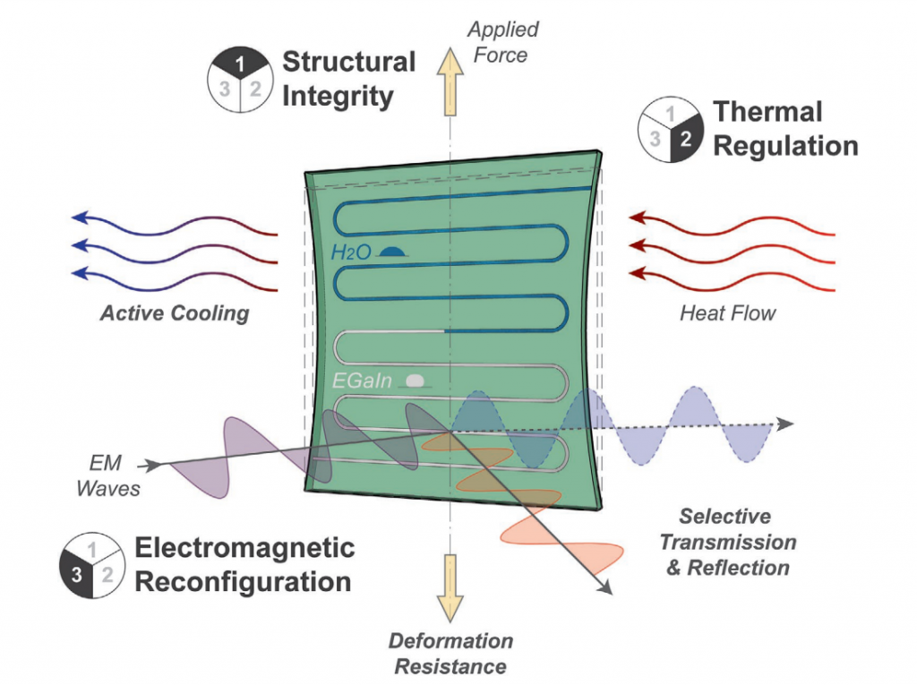 The metamaterial's EM properties can be modified with a liquid metal alloy, while its thermal properties can be modified by running water through it. Image via NC State University.