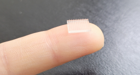Scientists at Stanford University and UNC use 3D printing to create a microneedle vaccine patch. Photo via UNC.