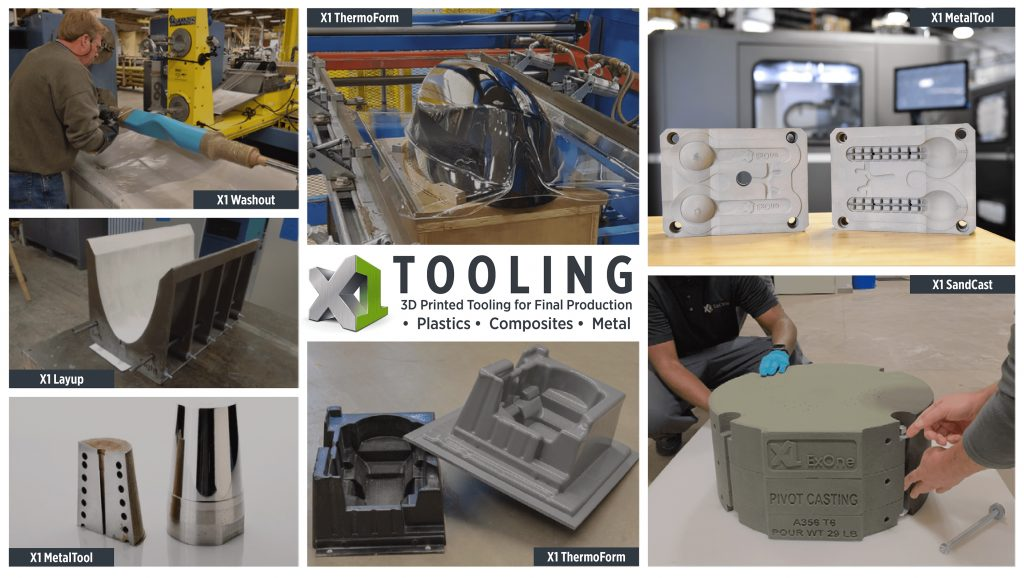 The full range of X1 Tooling products. Photo via ExOne.