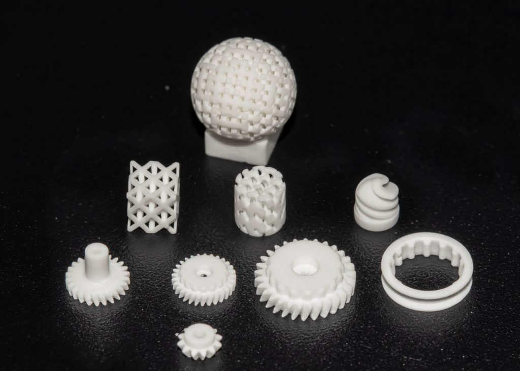 A set of microprinted parts produced via BMF's microArch S230 and Alumina material. Image via BMF.