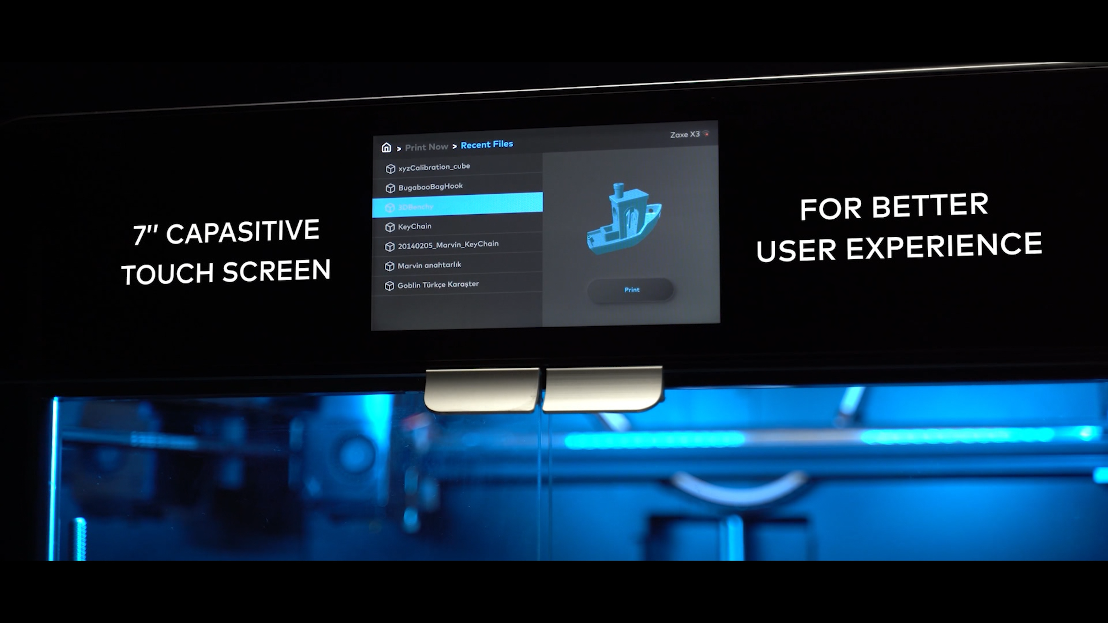 Each of Zaxe's new 3D printers features a large, easy-to-use 7-inch display screen. Photo via Zaxe.
