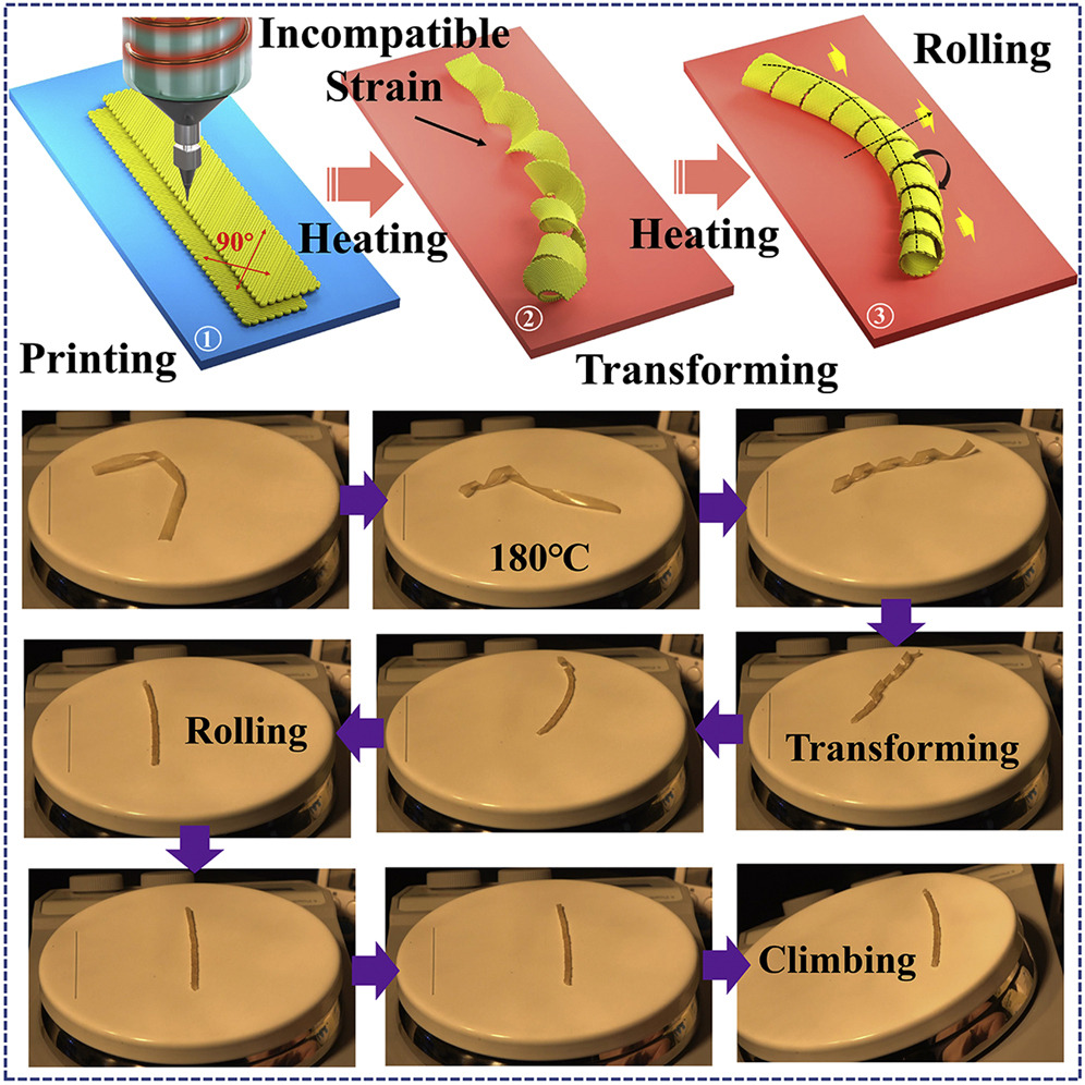 3D printing and heating the soft robot. Image via Tianjin University.