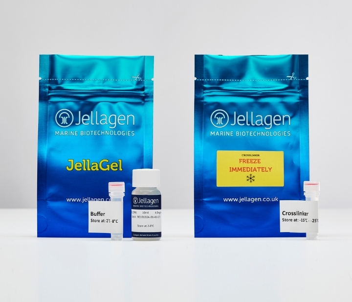 JellaGel is a next generation jellyfish collagen hydrogel for in vitro cell culture and tissue engineering.  Photo via Jellagen.