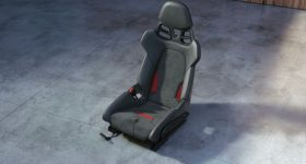 Porsche's new 3D printed seat in 'Guard Red'.