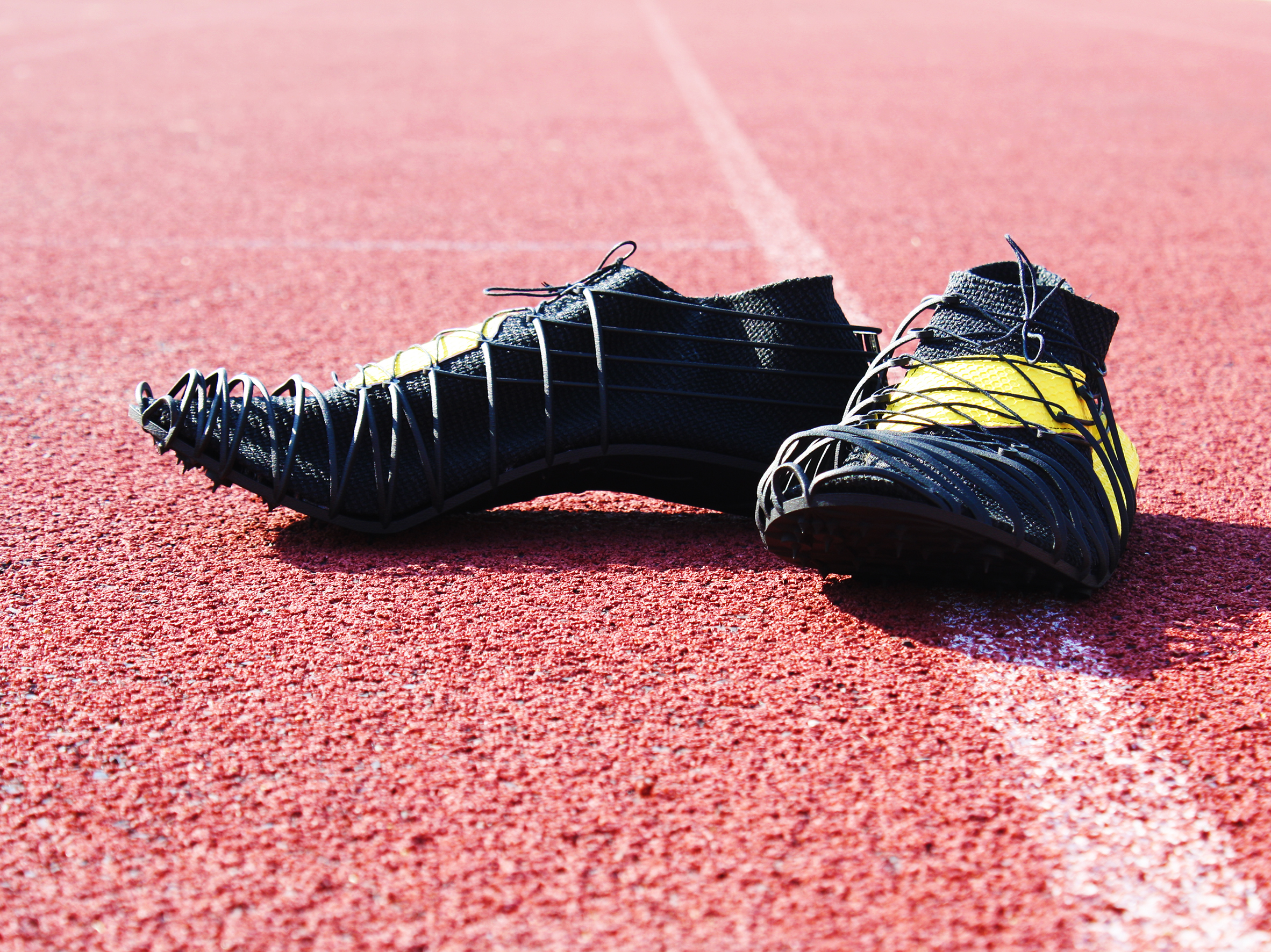 Miro Buroni's Pleko spike shoes, 3D printed by CRP Technology. Photo via CRP Technology.