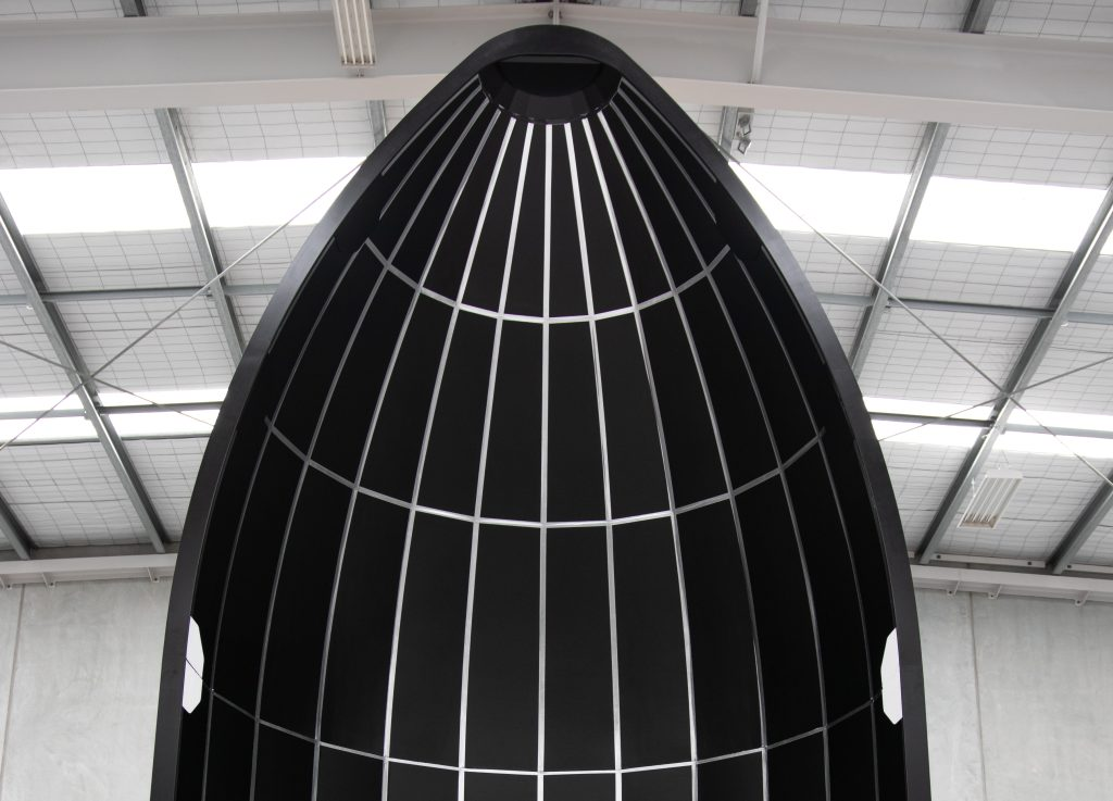 A prototype nose piece for Rocket Lab's upcoming Neutron rocket.