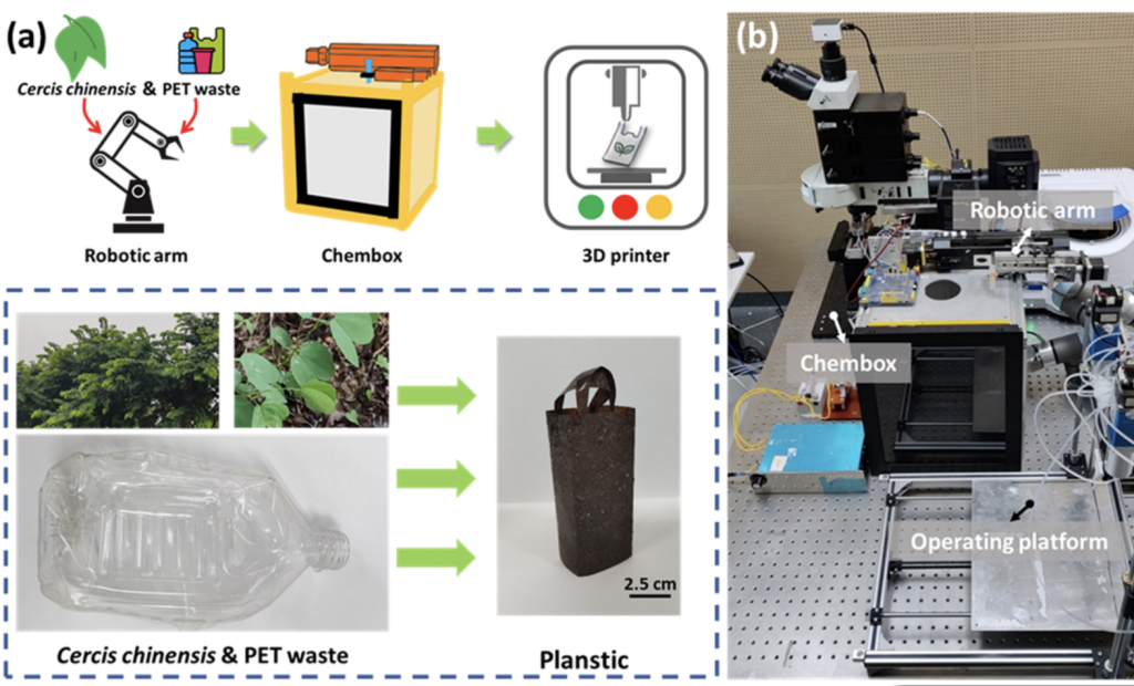 The production method behind the researchers' 'Planstic' 3D printing filament.
