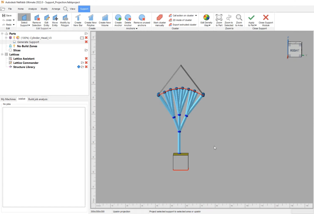 A screenshot from Netfabb 2022 showing the software's new 'smart-branching' support feature.
