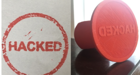 A 3D printable 'hacked' stamp developed by Thingiverse maker 'Clocktimer.'