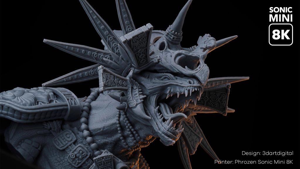High-resolution model 3D printed using Phrozen Aqua-Gray 8K Resin. Photo via Phrozen.