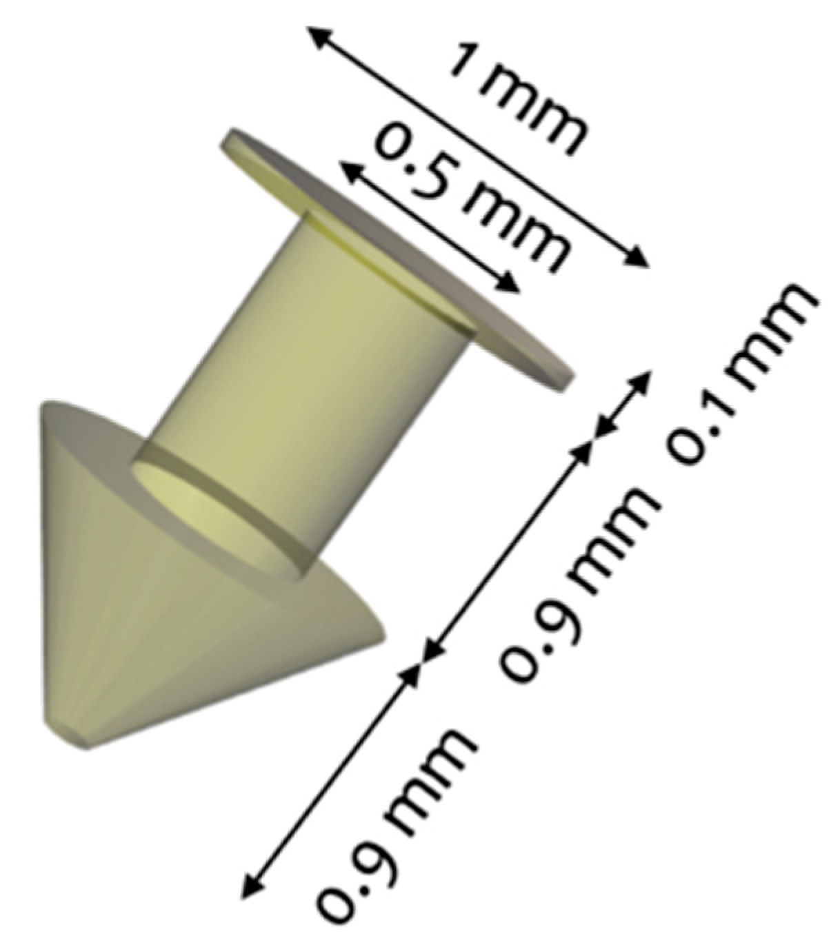 3D design of the punctal plug fabricated by the researchers. Image via MDPI.