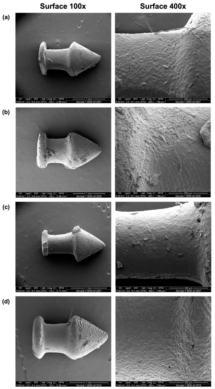 SEM images of the DLP 3D printed (a) D10, (b) D20, (c) D10PEG and (d) D20PEG punctal plugs. Image via MDPI.