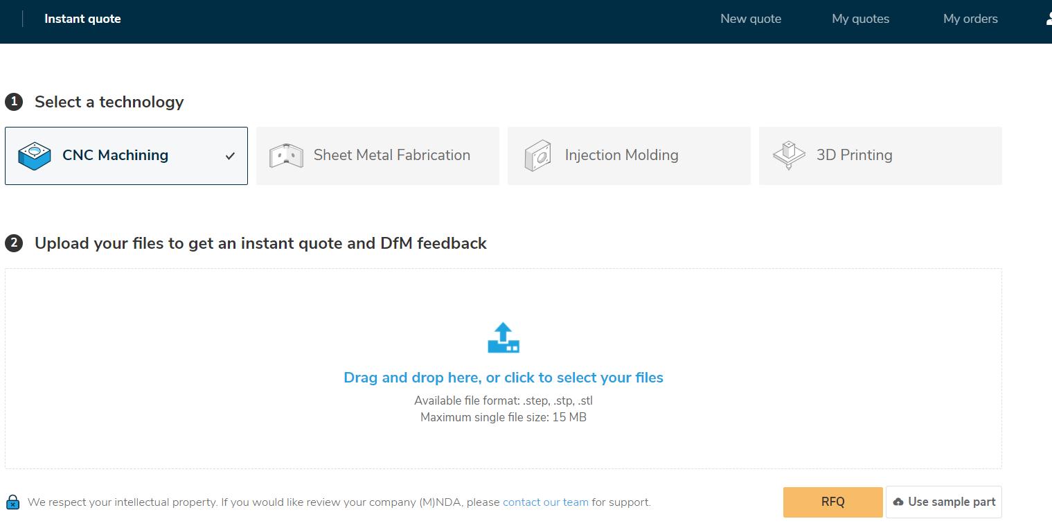 RapidDirect's Instant Quote platform. Image via RapidDirect.