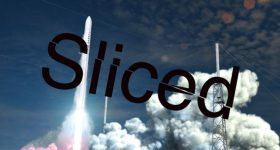 Render of Relativity Space's Terran 1 rocket with the Sliced logo.