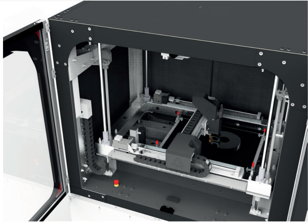 The Amcell 1400's heated build chamber. Photo via Triditive.