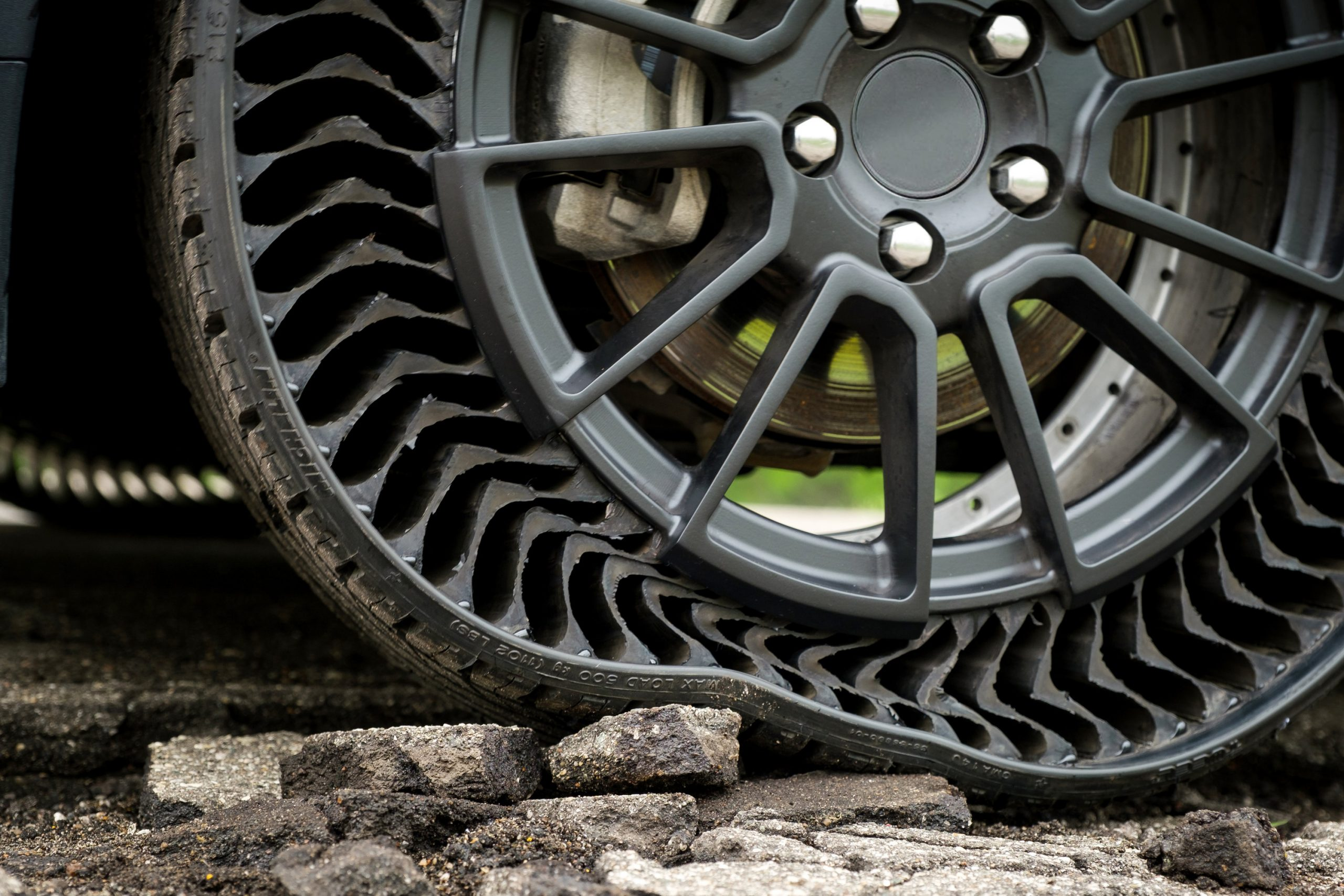 Michelin's Uptis tire is airless to eliminate the risk of punctures. Photo via Michelin.